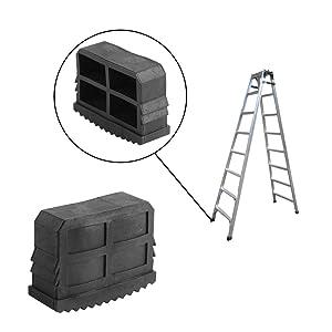 Delaman Ladder Feet Replacement 2Pcs/Pair Non Slip Rubber Ladder Feet Caps Protector Step Ladder Feet Foot Mat Cushion, Black, 2Pcs