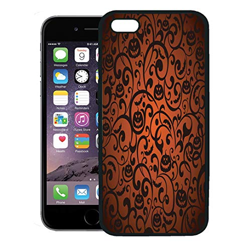 Semtomn Phone Case for iPhone 8 Plus case,Orange Pattern Halloween Vintage Silhouette Bat Black Autumn iPhone 7 Plus case Cover,Black ()