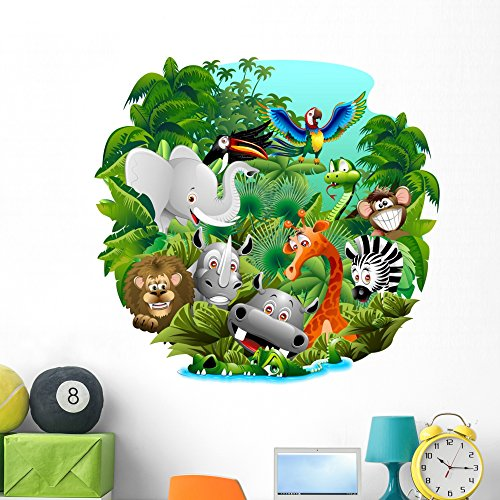 Wallmonkeys Wild Animals in The Jungle Wall Decal Peel and Stick Graphic WM335660 (48 in H x 48 in W)