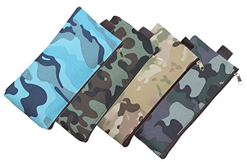Camouflage Pencils (Skyflying 4PCS Canvas Camouflage Color Zipper Pen Pencil Stationery Storage Pouch Bag Case (4 color))