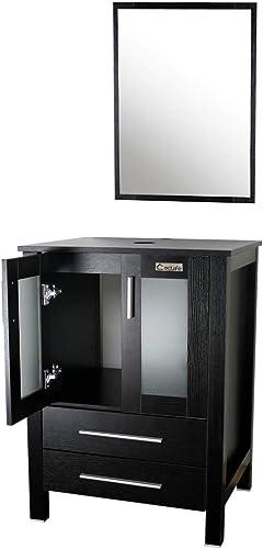 Eclife Modern 24 Bathroom Vanity Pedestal Cabinet Set Pedestal Stand Wood Black with Bathroom Vanity Mirror Soft Closing Cabinet Doors Set B02