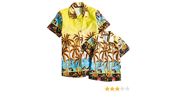 Acircle Father and Son Matching Cotton Casual Button Down Hawaiian Shirt Luau Party Aloha Shirt for Men and Boy