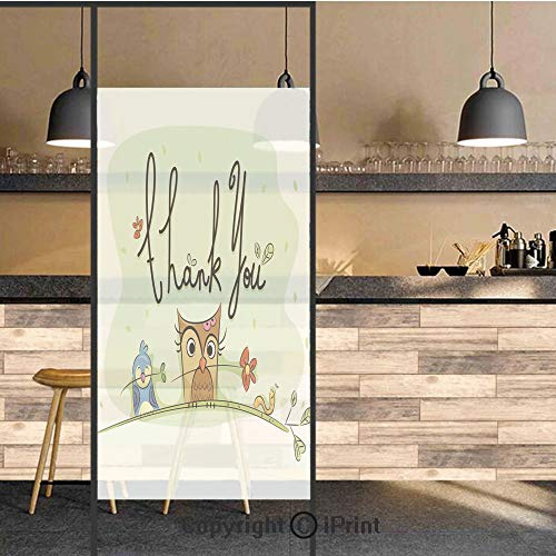 - 3D Decorative Privacy Window Films,Chubby Little Birds Owl Worm and Sparrow and Flowers with Thank You Quote Art,No-Glue Self Static Cling Glass film for Home Bedroom Bathroom Kitchen Office 24x36 Inc