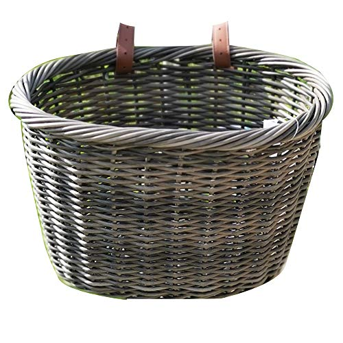 ZUKKA Handlebar Bike Basket,Front Handlebar Adult Storage Basket, Waterproof with Leather Straps,Bicycle Accessory
