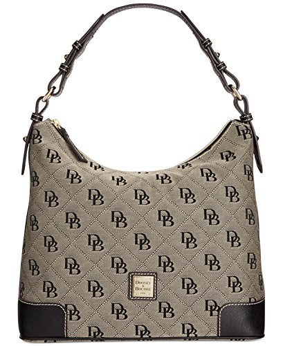 Dooney & Bourke Leather Hobo Bag - Dooney & Bourke Americana Signature Large Erica Hobo,White/Black