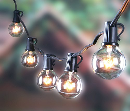 Outdoor G40 Globe Pergola String Lights with 100 Clear Bulbs, UL List Edison String Light for Wedding Patio Backyard Garden Party Cafe Bistro Deckyard Pool Umbrella Christmas Decoration, Black 100Ft by MineTom (Image #1)