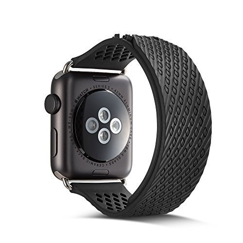 (Sport Band for Apple Watch 42mm, Alloyseed Non-buckle Soft Silicone Wristbands Replacement iWatch Strap for Apple Watch Nike+ Series 3 2 1 and Sport Edition (Black))