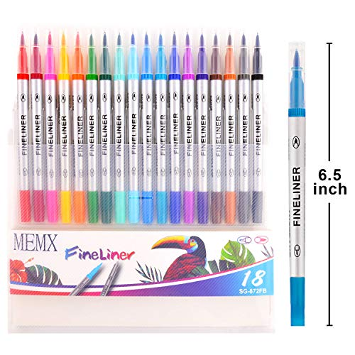 MEMX Colored Pens Set, Brush Tips & Colored Fine Point Pen for Journaling Note Taking Writing Drawing Coloring Planner Calendar, Coloring Art Office School Supplies,18 Colors
