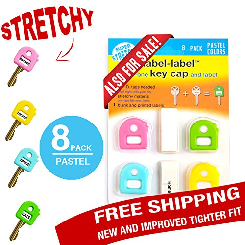 Key Caps Tags - Stretchy All-in-One Key Cover & Tags - ONE SIZE FITS MOST KEYS - Includes Blank Labels and Printed Labels - Key Covers, Name Tags, Identify Tag (PASTEL 8 PACK)