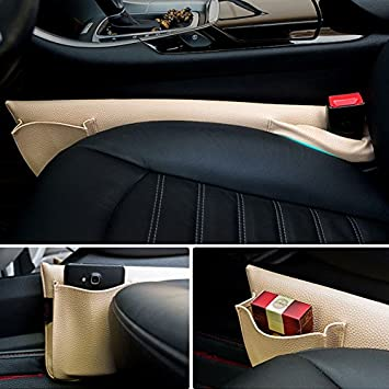 Beige LEIWOOR Car Seat Gap Filler Pad PU Leather Console Side Pocket Organizer Set of 2 for Cellphone Wallet Coin Key