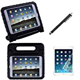 HDE iPad Mini 4 Shock Proof Case Bundle for Kids Foam Bumper Cover Child Handle Stand + Stylus Screen Protector for Apple iPad Mini 4 Retina (Black)