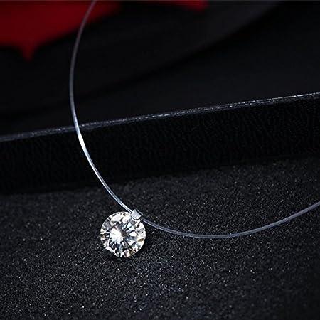 0.6//0.8cm transparente invisible línea brillante Circón Gargantilla Collar De Mujer