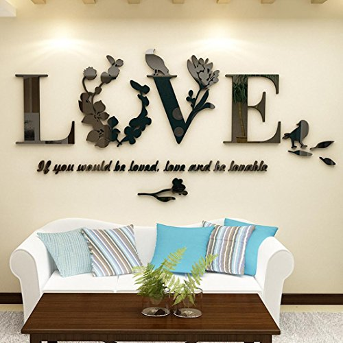 Wall Stickers, Witspace Wall Sticker Stylish Removable 3D Leaf LOVE Wall Sticker Art Vinyl Decals Bedroom Decor Removable Wall Sticker (Black)