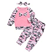 Happy Town Baby Boys Girls Family Clothes Long Sleeve Camouflage Romper Outfit Pants Set +Headband (Pink, 0-6 Months)
