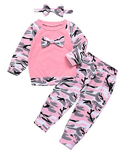 Girls Family Clothes Long Sleeve Camouflage Romper Outfit Pants Set +Headband (Pink, 0-6 Months) ()