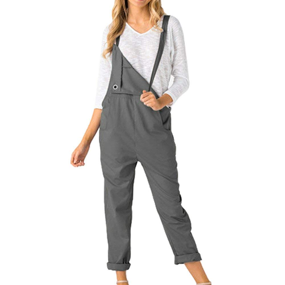 Ladies Fashion Elegant Jumpsuit Summer Jumpsuits for Women Loose Dungarees Loose Long Pockets Rompers Pants Trousers Gray S