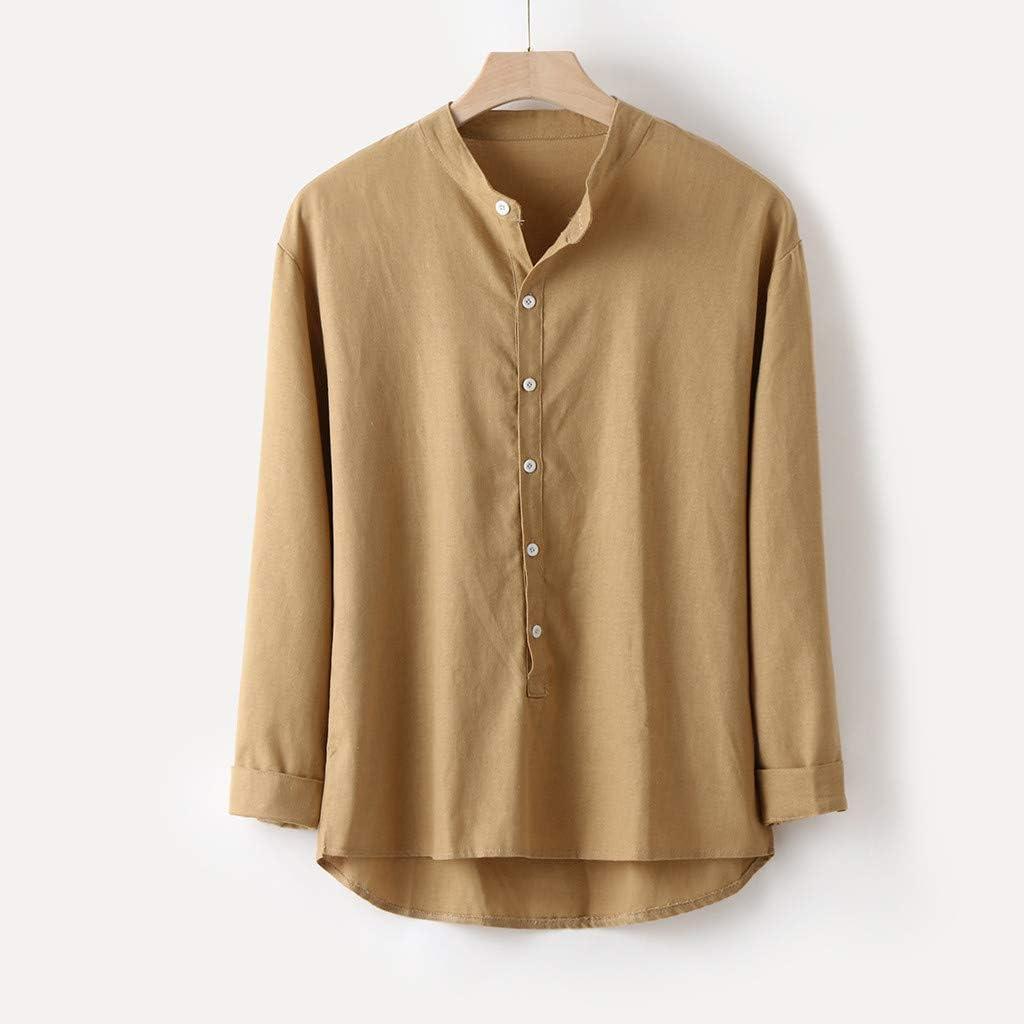 YEBIRAL Camisetas Hombre Manga Larga, Tallas Grande Casual Originales Básica Suelto Color Sólido Cuello Mao con Botones Tops Blusa Camiseta para Hombre(3XL, Amarillo-1): Amazon.es: Ropa y accesorios