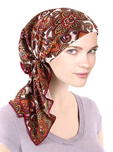 The Bella Scarf Chemo Turban Head Scarves Pre-Tied Bandana for Cancer Red Gold Latika Paisley Print