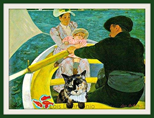 Whimsical French Impressionist Cassatt Matisse art, Blue Bedroom Bathroom decor Funny hipster Cat Collage art Goldfish print, Cat lovers Gift Lake Rowing Row Boat art print Cat (Lovers Rowboat)
