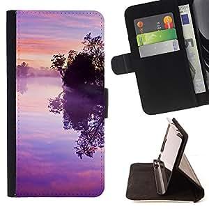 BullDog Case - FOR/Samsung ALPHA G850 / - / Nature Pink Purple Susnet /- Monedero de cuero de la PU Llevar cubierta de la caja con el ID Credit Card Slots Flip funda de cuer