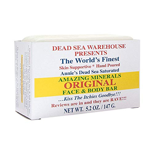 Dead Sea Warehouse - Amazing Minerals Original Face & Body Bar, Soothing Dead Sea Minerals Support Clear & Healthy Skin, Great for All Skin Types, Sensitive Skin Friendly (Unscented, 5.2 Ounces) (Sea Face Mineral Dead)