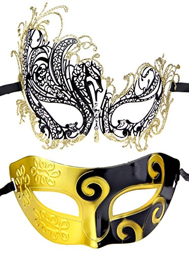 Couples Pair Half Venetian Masquerade Ball Masks Set Party Costume Accessory (Gold&Black)