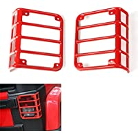 FMtoppeak Red Metal Tail Light Guards Protector Covers For Jeep Wrangler JK 07-16