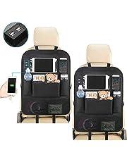 2 Stukken Auto Rugleuning Beschermer Waterdichte Autostoel Organizer met Zak, Tablet/Telefoon Opslag Multifunctionele Auto Organizer voor Kinderen