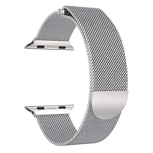 (SMALLE ◕‿◕ Apple Watch Series Band, Milanese Stainless Steel Magnetic Watch Band for Apple Watch Series 38-40-42-44mm)