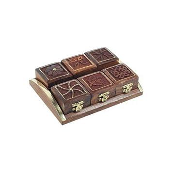 CAPRILO Bandeja con 6 Cajas Decorativas de Madera Marino. Cajas Multiusos. Joyeros, Regalos Originales. Decoración Hogar. 4 x 17 x 13 cm.: Amazon.es: Hogar