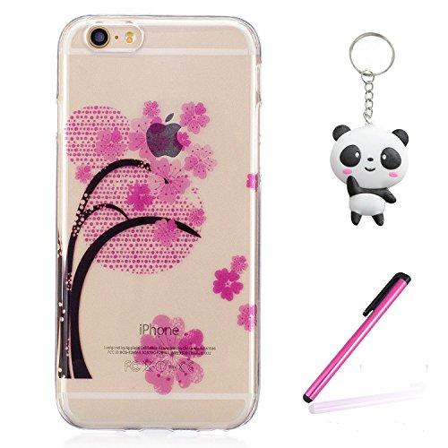 iPhone 6 Plus Coque Arbre rose Premium Gel TPU Souple Silicone Transparent Clair Bumper Protection Housse Arrière Étui Pour Apple iPhone 6 Plus / 6S Plus + Deux cadeau