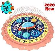 "gebra 76.8"" Sprinkler for Kids Toddlers Splash Pad Outdoor Wading Pool Water Play Toys A-Z Words Animals"
