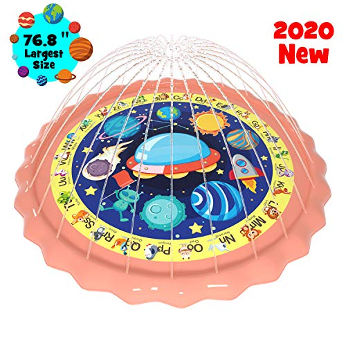 """gebra 76.8"""" Sprinkler for Kids Toddlers Splash Pad Outdoor Wading Pool Water Play Toys A-Z Words Animals Space Educationl Design Water Mat Toys for Baby Toddler Girls and Boys Age 1 2 3 4 5 6 7 8 9"""