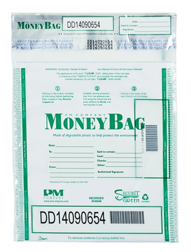 PM Company 9 x 12 Triple Layer Tamper Evident Plastic Money Bags, 100 per Pack, 5 Packs, 500 Pieces (58048) by PM Company