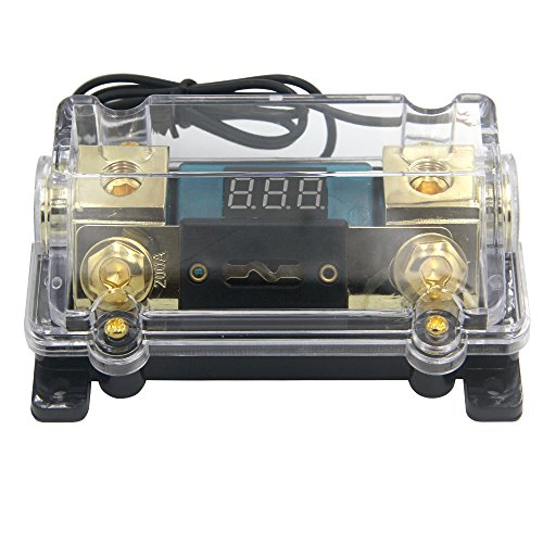ZOOKOTO 200A Fuse Holder,Car Stereo Audio Led Display Digital Voltage Inline ANL Fuse Holder 0 2 4 Gauge in out with 200 Amp Fuse ()