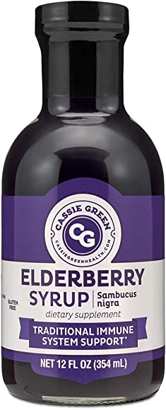 Cassie Green Health Elderberry Syrup, 12 ounces, Immune Support, Herbal Supplement, Organic Ceylon Cinnamon, Organic Ginger, Organic Lemon Juice, Low in Sugar, Glass Bottle