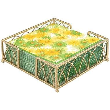 Boston International Lunch Napkin Caddy, Arch Design in Gold Leaf