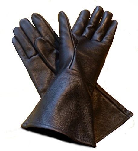 Leather Gauntlet Gloves Black Medium (med) Long Arm -