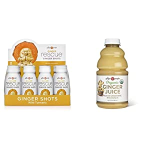 The Ginger People Rescue Shots, Wild Turmeric, 2 Fl. Oz., 12 Pack & Organic Ginger Juice, 32 Ounce (pack of 1)