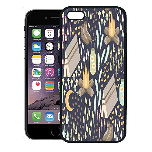 Semtomn Phone Case for iPhone 8 Plus case,Fun Camping Various and Outdoors Including Campfire Tent Hiking Boots Fireflies in Jar Moon Mushrooms iPhone 7 Plus case Cover,Black -