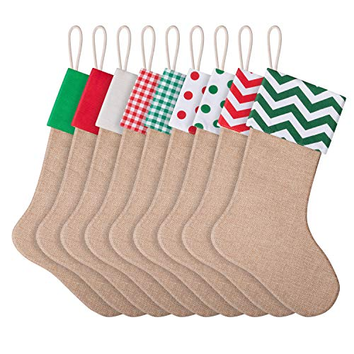favide 9 Pieces Christmas Burlap Stockings Xmas Fireplace Hanging Stockings for Christmas Decoration DIY Craft (Color Set 1, 9)