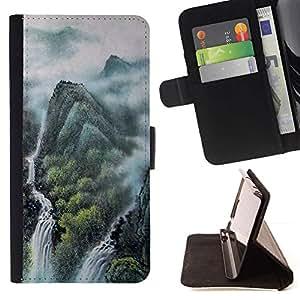 For Sony Xperia Z1 L39 Case , Pintura de paisaje chino- la tarjeta de Crédito Slots PU Funda de cuero Monedero caso cubierta de piel