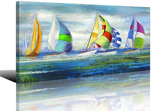 Large Colorful Sailboat Seascape Painting Canvas Wall Art Decor for Living Room Bedroom Modern Artwork Home Office Decoration 24x48inch (Colorful Paintings Sailboat)
