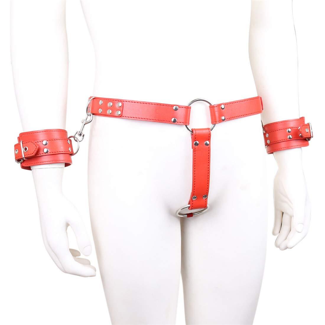 Zebuakuade Esposas vinculantes atadas con Traje Pantalones Cortos Traje con coqueteo coqueteo Adulto Castidad Fetish (Color : Red) f80695