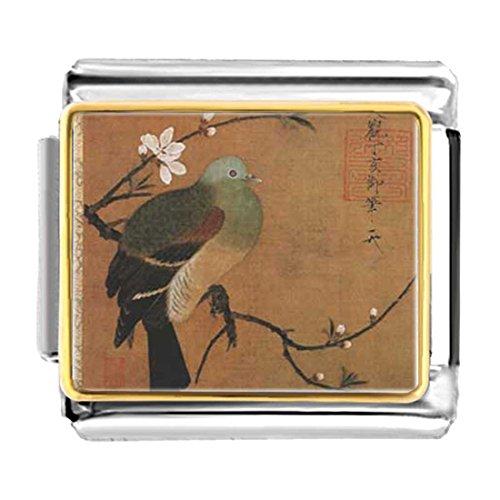 Pugster Bird - GiftJewelryShop Gold Plated Art of Bird Painting Bracelet Link Photo Italian Charm