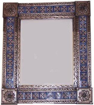 - Medium Brown Escudo Talavera Tile Tin Mirror