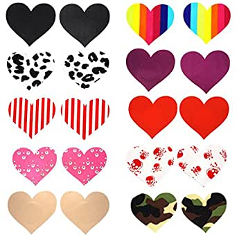 10 Pairs Women Sexy Heart Shape Disposable Pasties Nipple Cover Lingerie Stick on Bra
