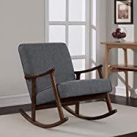 Granite Grey Fabric Mid Century Retro Wooden Rocking Glider Chair