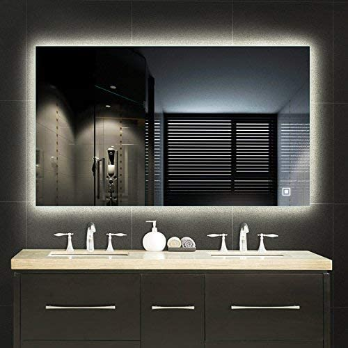 Trico-op Vertical or Horizontal LED Lighted Vanity Bathroom Silvered Mirror with Touch Button, Make up Mirror Wall Bar Mirror 48 x30 LED