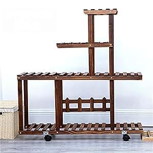 ALUS - Estante de madera maciza para piso balcón multi - marco de madera para interiores multi- estante para macetas de salón de carnes
